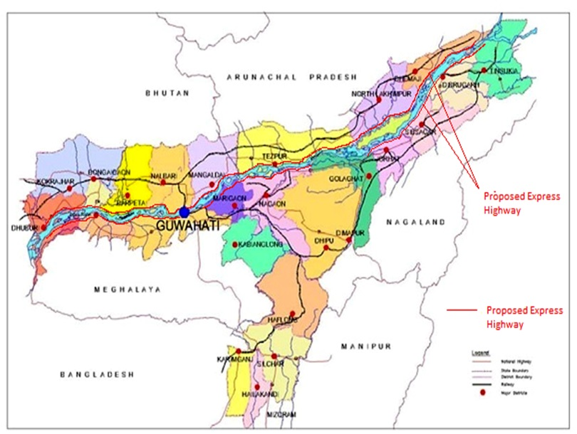 road map of assam state Brahmaputra Express Highway Water Resources Government Of road map of assam state